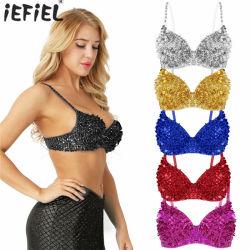 De la mujer brillante Sequined Bra Top Glitter Tops parte Clubwear cosecha Rave de danza del vientre