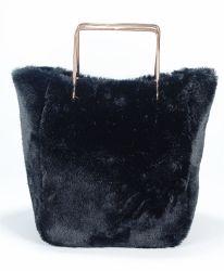 Schwarze Kaninchen-Plüsch-Dame-Form-Handtasche mit vorbildlichem Beutel der Griff-Dame-Tote