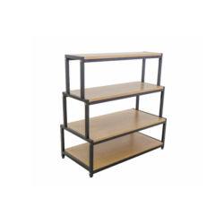 Quatre couches Chaussures Stand étagère en bois simple et de la texture de bois et fer à repasser