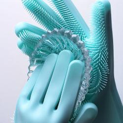 顧客用100%年の食品等級はBPAシリコーンゴムの耐熱性ブラシの魔法のスクラバーの洗浄のクリーニングのDishwashingの手袋を放す