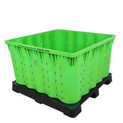 Los cuadros de palets de plástico grande con ventilados y Non-Vented en material de calidad alimentaria ahorrar un 70% de los gastos de envío de la agricultura encajables palet plegable Bin