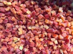 Rouge en dés congelées IQF Les poivrons doux, les poivrons rouges IQF dés, poivrons rouges IQF Cubes, dés de poivrons rouges IQF, de poivrons doux rouge congelée dés