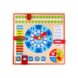 Karikatur-kognitives Wetter-Kalender-Vorschulkind-heißes Verkaufs-Baby-natürliche hölzerne pädagogische Spielwaren
