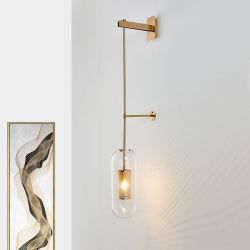 호텔 프로젝트 청동 현대 유리벽 Sconces 빛, 로비, 목욕탕, 복도를 위한 벽 램프