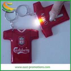T Shirt personalizado Chaveiro de luz LED TECLA PVC titular para a promoção