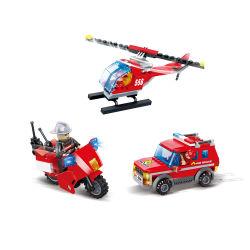 Drôle d'enfants jouet en plastique des blocs de construction d'enseignement de la station d'incendie