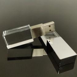 Silberner Speicher-Stock des Kristall USB-Blitz-Laufwerk-2GB-32GB mit graviertem Firmenzeichen