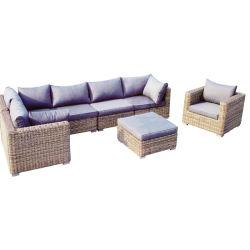 Mimbre Rattan Jardín Salón muebles modulares sofá con reposapiés