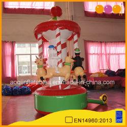Decoración de Navidad Santa Claus inflable muñeco de nieve Merry-Go Round (AQ57122)