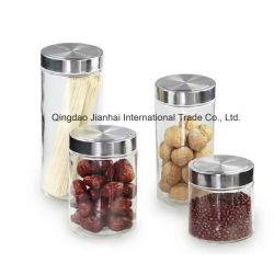 銀製のふたが付いている円形の食糧記憶のガラス容器