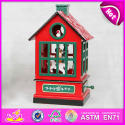 2015 Le Carrousel de la musique d'artisanat en bois jouet, intéressante boîte à musique en bois, 2 salle d'oiseaux en bois de couleur de la conception de cadeau de Noël La Boîte à musique W07B023b