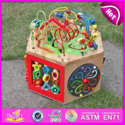 2015 Grande chaîne multifonctionnelle de perles en bois jouet, innovatrice, perles de chaîne de jouets en bois de chevreau, cordon de fil de cubes de jouets éducatifs W11b061