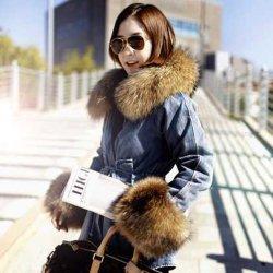 La Chine populaire Fashion Veste d'hiver enduire femmes manteau de fourrure véritable Big le raton laveur Col de Fourrure à capuchon Parkas Denim chaud épais vêtements de dessus nouvelle veste 2018