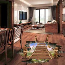 Fußboden-Aufkleber-Wand-Aufkleber-Ausgangsdekoration der hängenden Brücken-3D