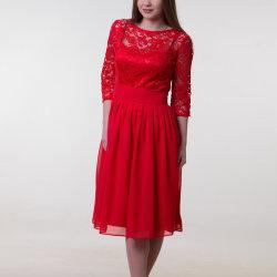 Manchon court en mousseline robe dentelle demoiselle d'honneur chinois rouge robes de mariée robe de mariée