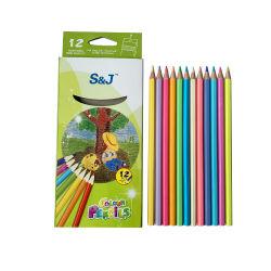 En Stock 7 pouces à tête hexagonale 12pcs crayon de couleur pastel de bois en boîte de couleur