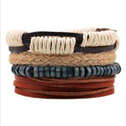 Cordas de cânhamo Bracelete Multi-Loop Joalharia