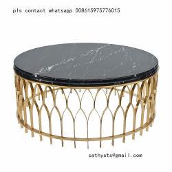 Chapado en oro de titanio, acero inoxidable mesa de café de cristal de la Base de metal
