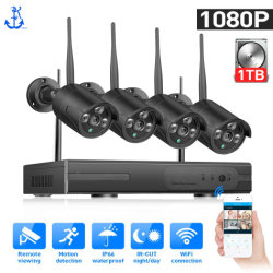 4CH 1080P HD IR exterior vision nocturna la vigilancia de vídeo 4PC WiFi de 2MP sistema CCTV Wireless Kit de NVR Cámaras IP SEGURIDAD DE DISCO DURO