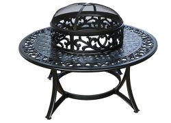 Schwarzes Farben-Gussaluminium-Garten BBQ-Gitter-Tisch-Set