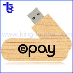 Promotion du bois personnalisé spécial pivotant mémoire portable lecteur Flash USB