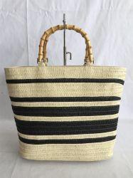 O trançado de tecidos de papel com alça de bambu saco de praia de Palha
