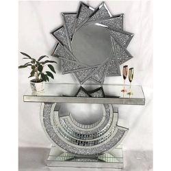 Elegante artesanía en vidrio de la consola de espejo refleja la tabla de la consola de Nueva York
