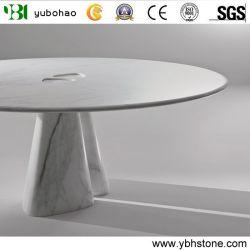 Tabella di pranzo di pietra rotonda interna di marmo bianca nera di Marquina/Bianco Carrara