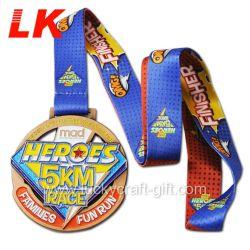 Glitter Diseño libre de la medalla de deportes de esmalte Metal siga