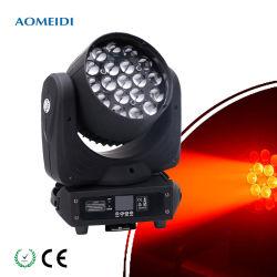 LED tête mobile DJ Laver Zoom 19x15W RGBW 4en1 Étape LED feux stroboscopiques
