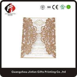 Coupe laser personnalisée Hollow Invitation de mariage Carte de souhaits de l'or/argent/noir/Lumière Glitter or/Or Rose Fleur Rose de papier