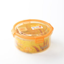 Großes rundes luftdichtes großes Vakuumgelb farbiger Mikrowellen-sicherer Plastiknahrungsmittelbehälter-Mittagessen-Kasten