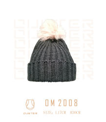 Frauen-Form-Schutzkappen-Winterspandex-Rippen-Muster gestrickter Hut mit grossem Pelz POM POM