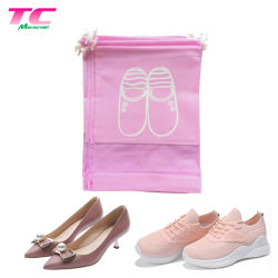 習慣は昇進の安いスポーツのピンクの非編まれたドローストリング、明確なWindowsが付いている旅行靴の収塵袋を印刷した