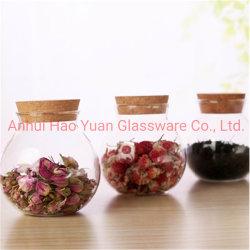Vaso in vetro con coperchio in legno, vasetti circolari, vasetti profumati per tè