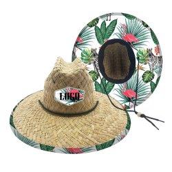 Fabrico Natural Verão grande plano rasante Cowboy Pac o logotipo personalizado Erva Mar Chapéu de Palha de salva-vidas