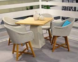 Im Freienpet Rattan-New- Yorkneues Art-Speisetisch-Set, Rattan-Garten-Möbel-Stühle und Tisch