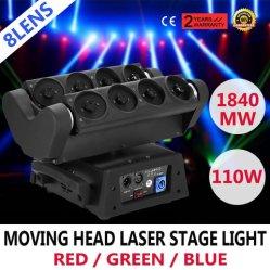 DJ /Disco/Partyの段階ライトのための8PCS RGBレーザーのくものビーム移動ヘッドライト