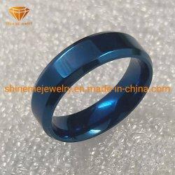 Commerce de gros de bijoux en acier inoxydable dehaute qualité placage 6mm Bleu Bague en acier inoxydable SSR1969