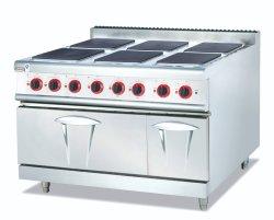 Handelsgaststätte-Küche-Gebrauch-Edelstahl-flacher oberster elektrischer kochender Ofen mit der 4 Brenner-Platte mit Ofen