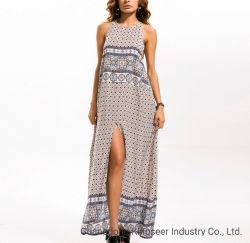 Großhandel Mode Laies Blumendruck High Side Slit Rock Sexy Sommer Loose Polyester Frauen Boho Maxi Kleid Bekleidung