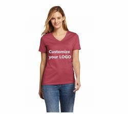 Usura di sport del collo di V delle brevi del manicotto di marchio di promozione di modo su ordinazione delle signore di ginnastica donne rapide asciutte della maglietta che esegue le magliette in bianco per gli uomini