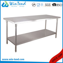 Worktable diritto pratico del ristorante robusto della costruzione di rinforzo mensola rotonda del tubo di 2 strati con il piedino registrabile di altezza