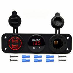 Alquiler de montaje en panel eléctrico impermeable toma doble Cargador USB de 5V Accesorios de coche