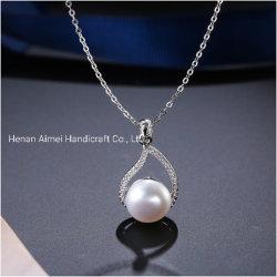 Poignée de commande de mode d'eau douce Droplet-Shaped Pearl 925 Silver Necklace