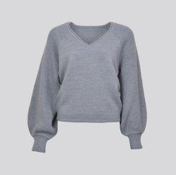 La laine mélangée col en V L'Évêque manchon Pull Pull-over de femmes