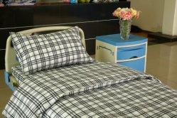 Pur coton et polyester coton vérifié l'hôpital jeu de feuilles de lit