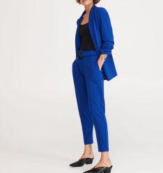 Oficina de la fábrica OEM Lápiz de color azul traje de pantalón de pierna con cintura alta