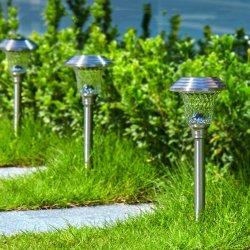 Jardín de Luz Solar popular ruta de la Energía Solar LED Juego de luces de jardín de césped de la luz de la lámpara de acero inoxidable para exterior
