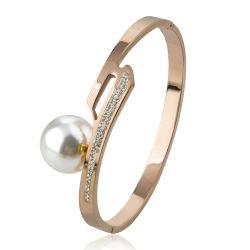 Mulheres Jóias Acessórios Rose Encanto Ouro Bracelete pérola de Aço Inoxidável